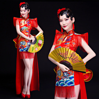 The new modern Chinese wind female drum performances water drumming inspired dress costumes adult now