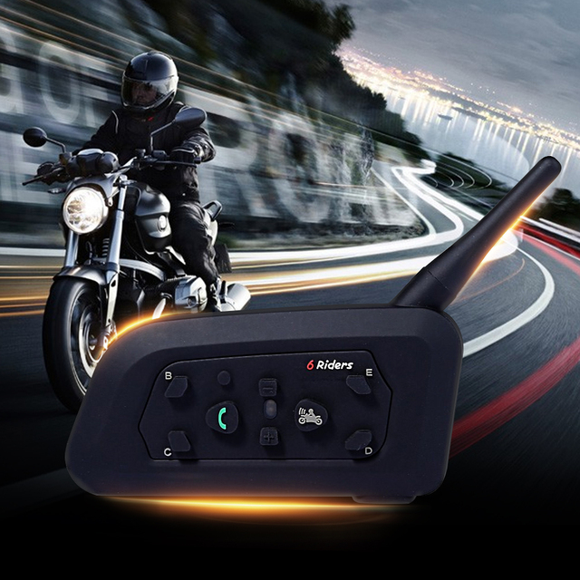 2016 New 2 x V6 Multi BT Interphone 1200M Motorcycle Bluetooth Helmet Intercom Intercomunicadores Interphone Headset for 6 Rider