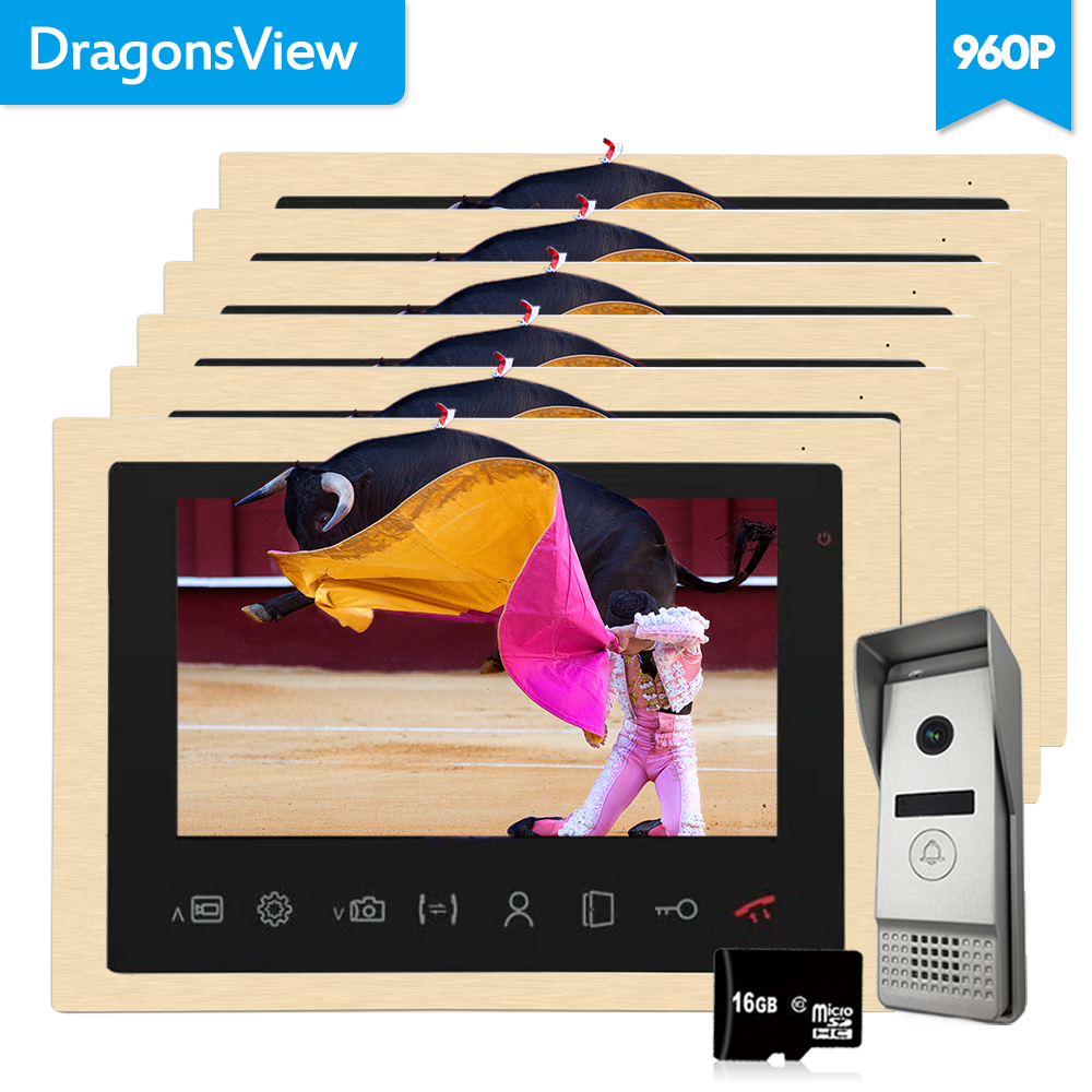 Dragonsview 10 Inch AHD 960P 1.3MP Visual Intercom Doorbell Video Door Phone Intercom System Kit Night Vision Wide View Record
