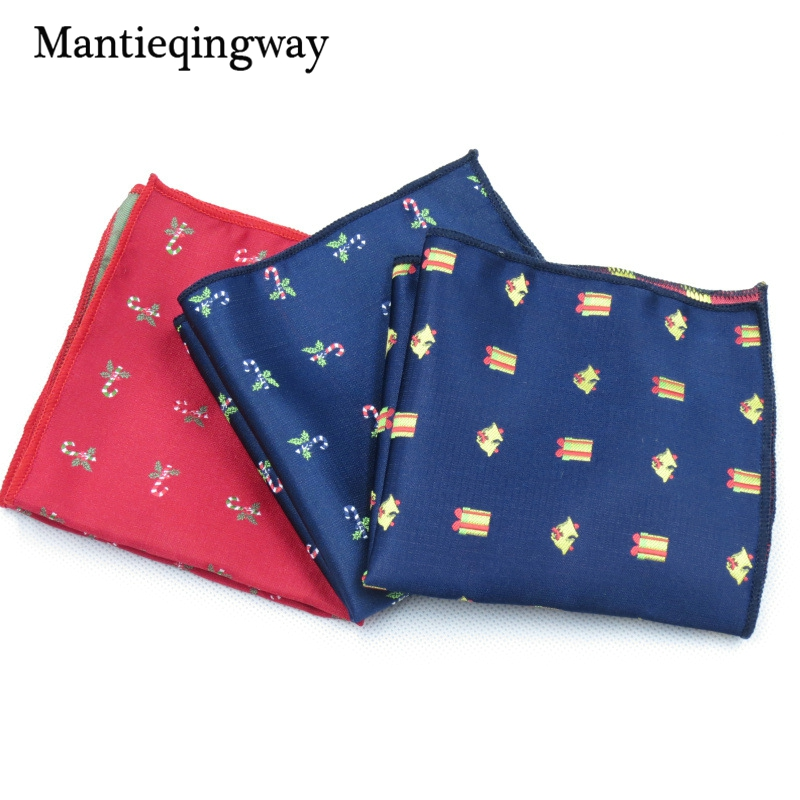 Mantieqingway Brand Christmas Hankies Men's Pocket Square Handkerchiefs Formal Business Suits Printed Handkerchief Chest Towel