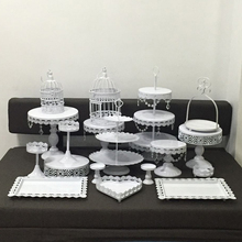 Set of 7- 18 pieces gold cake stand wedding cupcake set glass dome crystal candy bar decoration tools bakeware