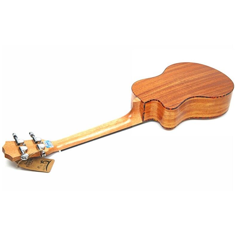 23/26 pouces ukulélé en acajou hawaïen 4 cordes Mini voyage guitare Instrument de musique électrique ukulélé pick-up EQ celluloïd reliure - 5