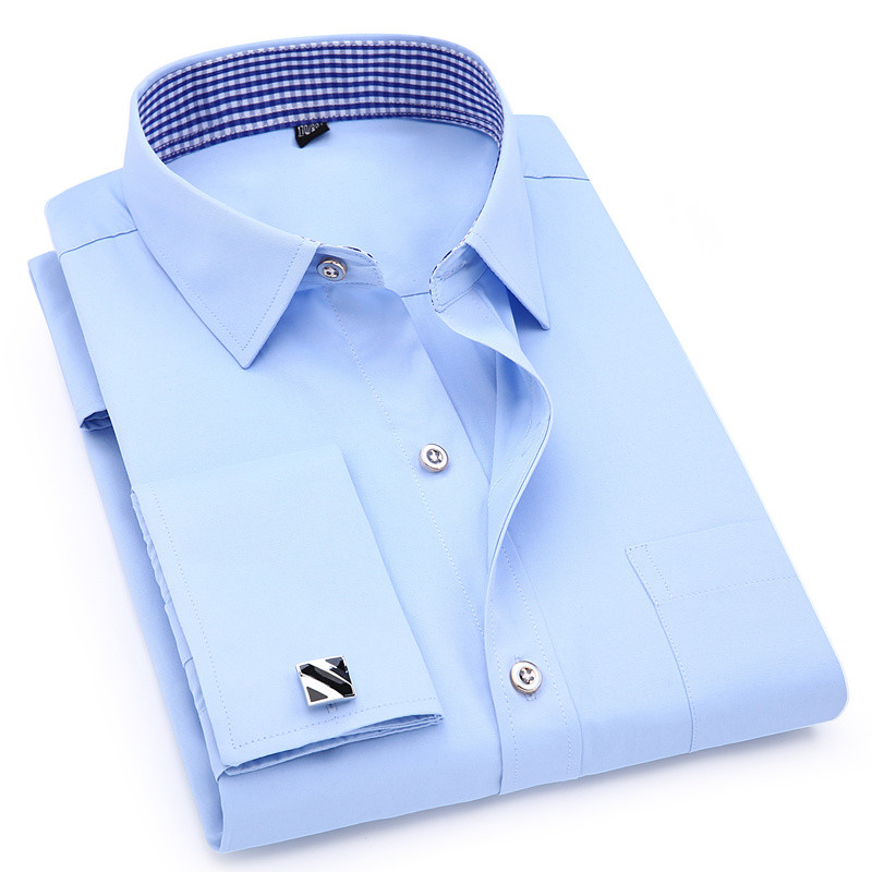 Image 2 - Men's Dress Shirts French Cuff Blue White Long Sleeved Business Casual Shirt Slim Fit Solid Color French Cufflinks Shirt-in Dress Shirts from Men's Clothing