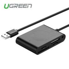 Ugreen мульти в 1 usb 2.0 card reader высокоскоростной micro памяти SD Кардридер с USB 3 Разветвитель для SD/TF/MS Карты ПОСТОЯННОГО ТОКА 2A мощность