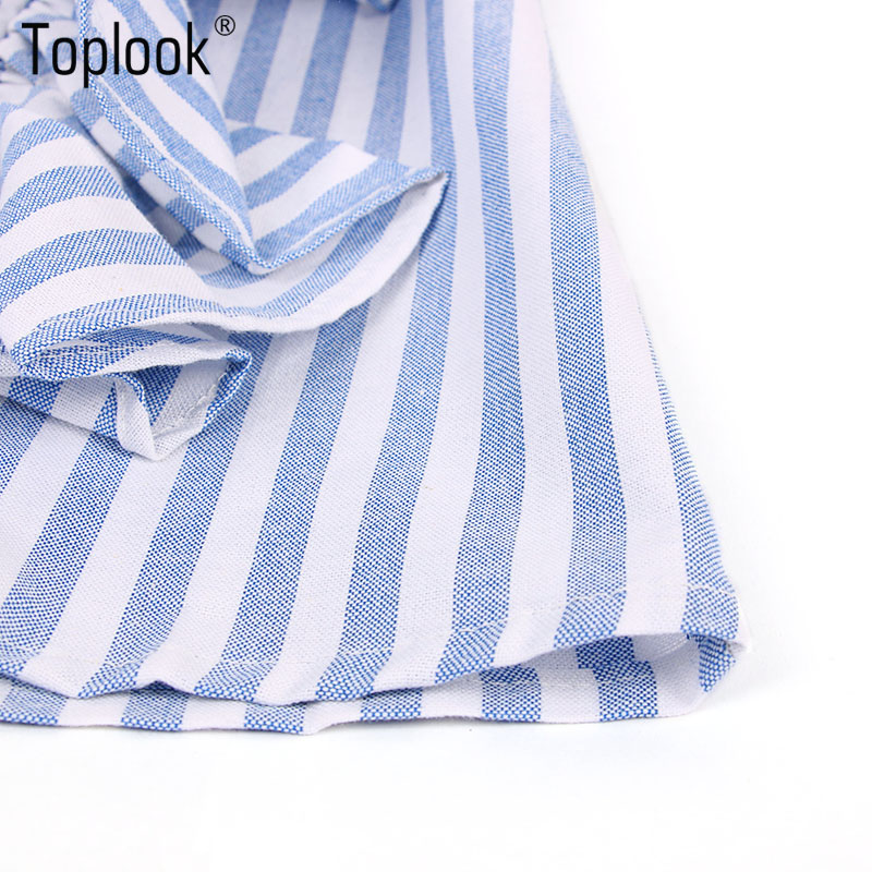 HTB1 QZJPVXXXXaSaVXXq6xXFXXXi - Blue Frilled Blouse Striped Long Sleeve Shirt Women Casual