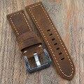 Brown Macio do Couro Genuíno Pulseira de Relógio Banda 22mm/24mm Assista Bracelete para Panerai Horas esculpida Fivela de Implantação pulseira