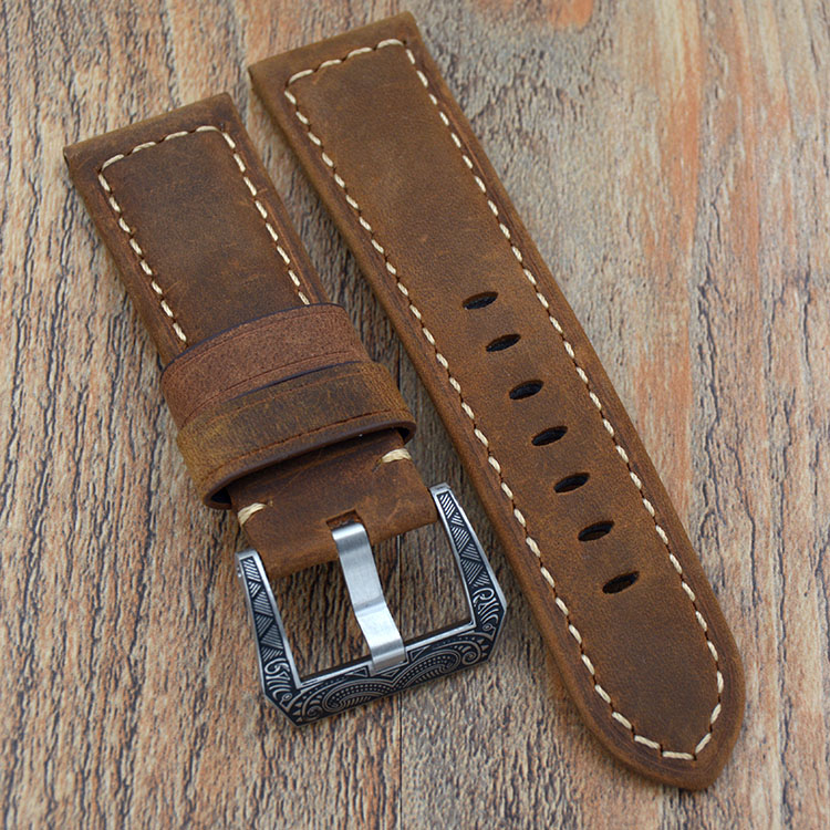 Brown Soft Genuine Leather Bracelet Watch Band 22mm/24mm Watch Strap for Panerai Hours carved Deployment Buckle Watchband new arrive top quality oil red brown 24mm italian vintage genuine leather watch band strap for panerai pam and big pilot watch
