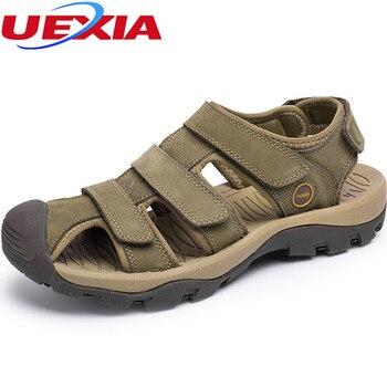 Große Größe 38-46 Sommer Flache Leder Schuhe Sandalen Schuhe Hallow Haken & Loop Strand Sandalen Mann Lässig Kunststoff wasser Alias