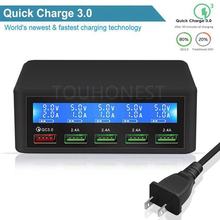 50 W Quick QC 3.0 Lading 5 Port Smart LCD USB Charger Adapter Station Fast Charger Voor iPhone 7 Samsung s10 Xiaomi Telefoon Oplader