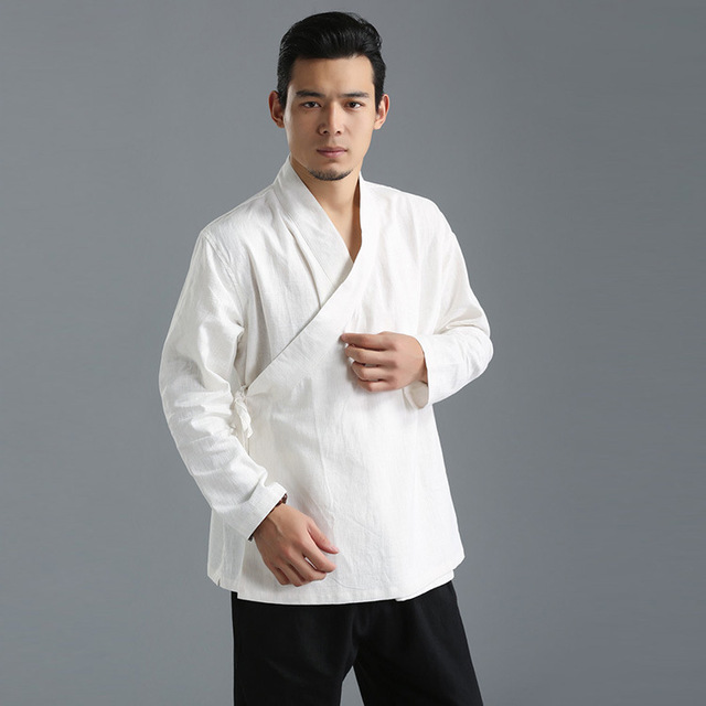 Новых Китайских Людей кунг-фу рубашка Ретро Этнической Хан Крыло чун одежда Равномерное Чистой Полотняной Рубашки Костюм Топы Свободные Туника мужской
