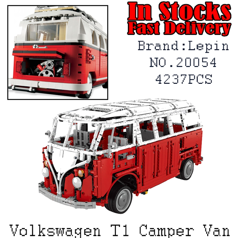 New LEPIN 20054 4237Pcs Technic Creator Camper Van car-styling Model Building Blocks Bricks Toys for children Gifts brinquedos lepin 20054 4237pcs the moc technic series the remote control t1 classic volkswagen camper set 10220 building blocks bricks toys