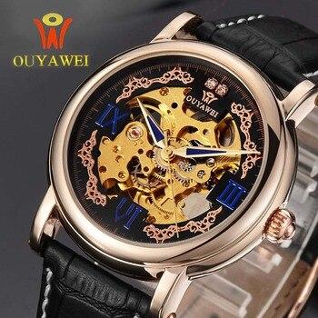 OUYAWEI Royal Diamond Design Nero Oro Orologio Montre Homme Mens Orologi Top Brand Di Lusso Relogio Maschio Meccanico Di Scheletro Della Vigilanza