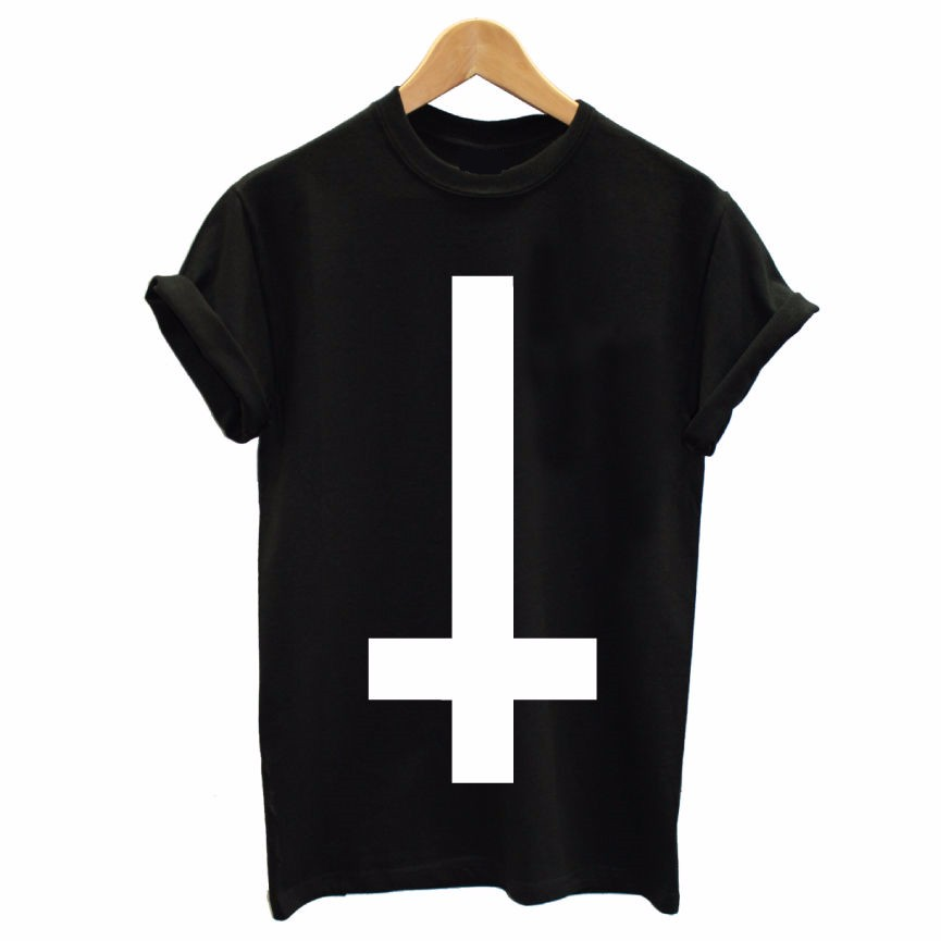 inverted cross printed men t shirt religion swag hipster girl retro tshirt cotton custom tee. Black Bedroom Furniture Sets. Home Design Ideas