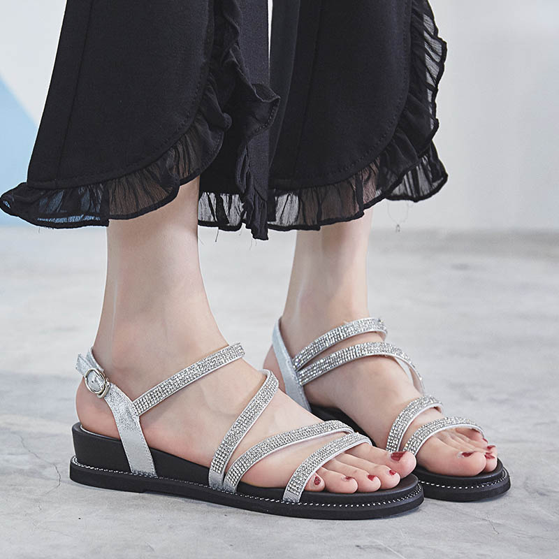 Feminino Cadenas Tanga Gladiador Tenis white Chaussure Planas Black Cristal Mujer  Rhinestones Zapatos Sandalias De tqwx44vA 947ba481b45d