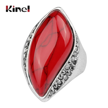 купить Kinel Unique Natural Stone Rings For Women Vintage Look Antique Silver Plated 3 Colors Fashion Jewelry Wholesale по цене 87.78 рублей