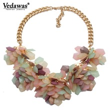 2019 Hot Selling Fashion Luxury Brand Multi layer Necklaces Pendants Resin Flower Choker Statement Necklace for