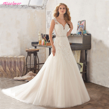 Silky Organza Robe de mariee Sexy V-neck lace Wedding Dress 2019 new Bridal Gown Luxury Crystal  Sashes vestidos noiva