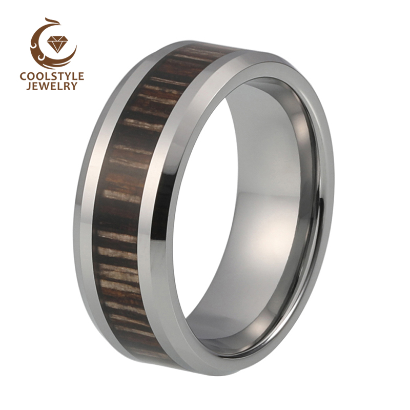 USA Top Selling 8mm Men's Tungsten Carbide Ring Brown