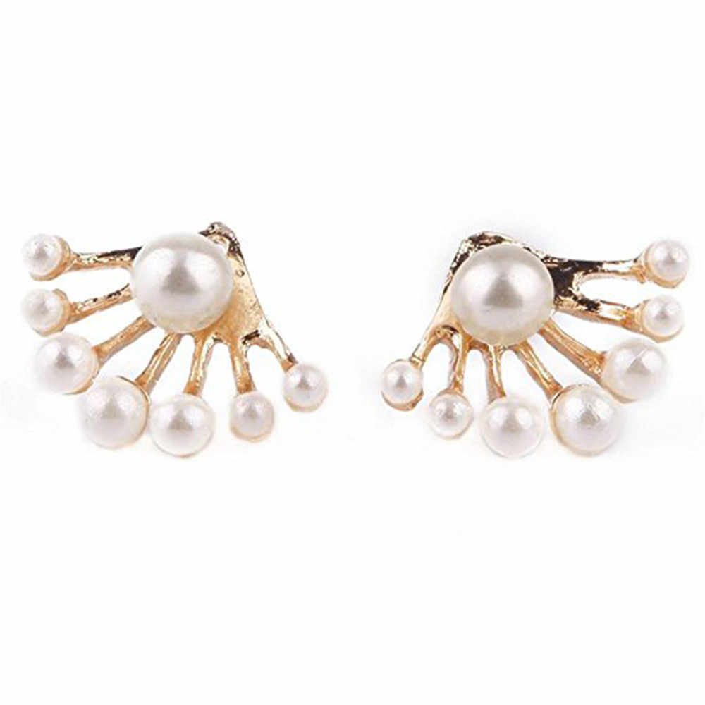 1 Pair Women Lovely Crystal Earrings Pearl Ear Stud Front and Back Earbob 10.4