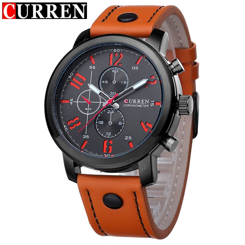 2017 Curren Sport Quartz Men Watch Brand Luxury Waterproof Leather Male Clock Fashion Casual Mens Wristwatches Relogio Masculino curren watches mens brand luxury quartz watch men fashion casual sport wristwatch male clock waterproof stainless steel relogios