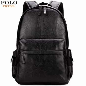 VICUNA POLO Famous Brand Preppy Style Leather School Backpack Bag For College Simple Design Men Casual Daypacks mochila male New - DISCOUNT ITEM  50% OFF All Category
