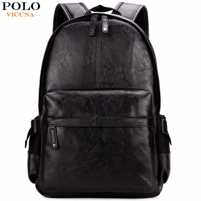 Vicuna Polo Famous Brand Preppy Style Leather School Backpack Bag For College Simple Design Men Casual
