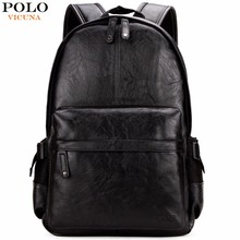 VICUNA POLO Famous Brand Preppy Style Leather School Backpack Bag For C