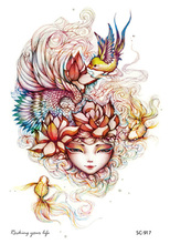 SC2917 Large Taty Beauty Girl Mermaid Head Water Transfer Body Art Temporary Tattoo Stickers Flash Big Tatoos Tatuagem