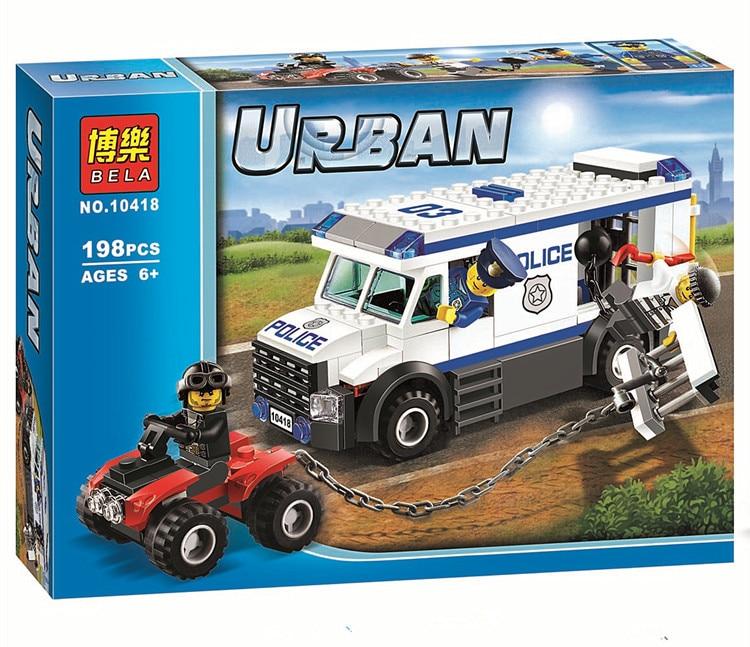 Pogo 198pcs 10418 Prisoner Transporter Urban Police City Building Blocks Bricks Toys Compatible Legoe 196pcs building blocks urban engineering team excavator modeling design