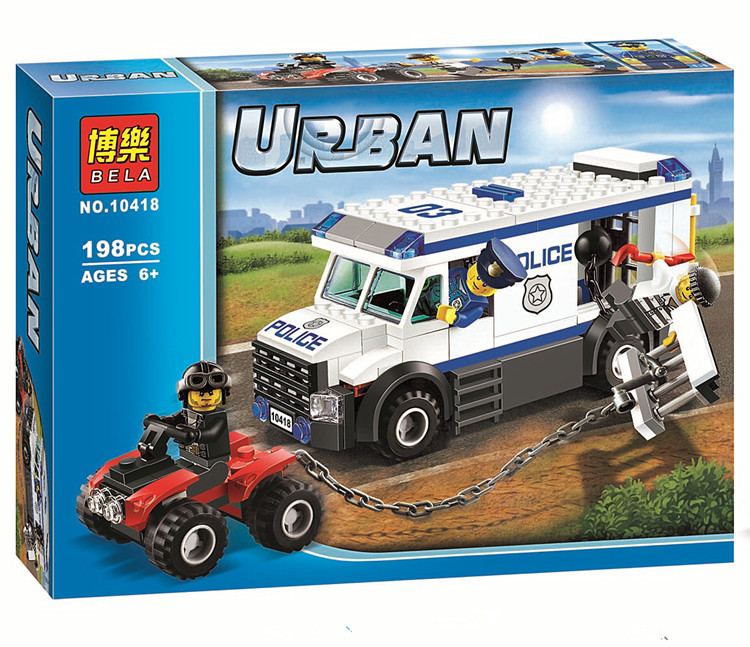 Pogo Lepin 198pcs 10418 Prisoner Transporter Urban Police City Building Blocks Bricks Toys Compatible Legoe decool 3114 city creator 3in1 vehicle transporter building block 264pcs diy educational toys for children compatible legoe