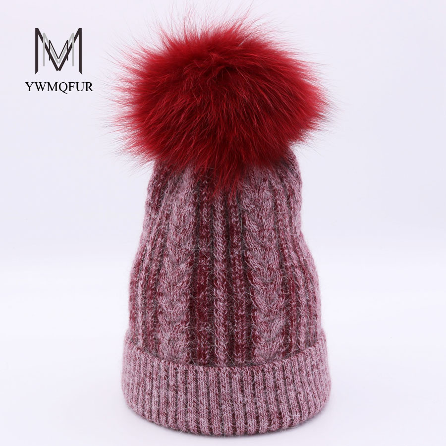 YWMQFUR Autumn Winter Rabbit Wool Knit Hats With Fox Fur Ball Beanies For Women Knitting Warm Caps Skullies girls pompom gorros 2017 classic russian women super good quality wool beanies hats with real fur ball knit caps solid skullies casual cap