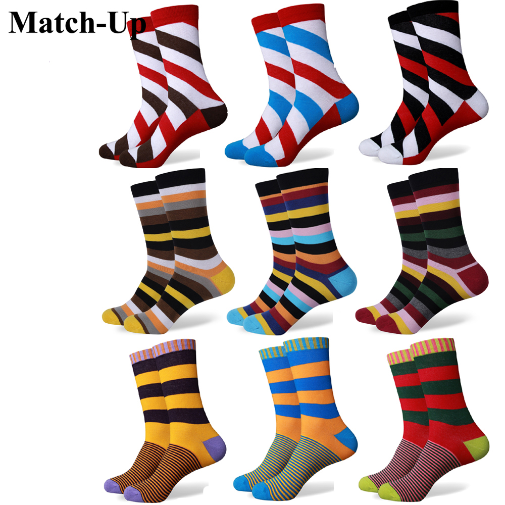 Match-Up гореща разпродажба случайни нов стил мъжки пенирани памучни цветни чорапи марка мъж рокля плетени чорапи безплатна доставка ни размер (7.5-12)