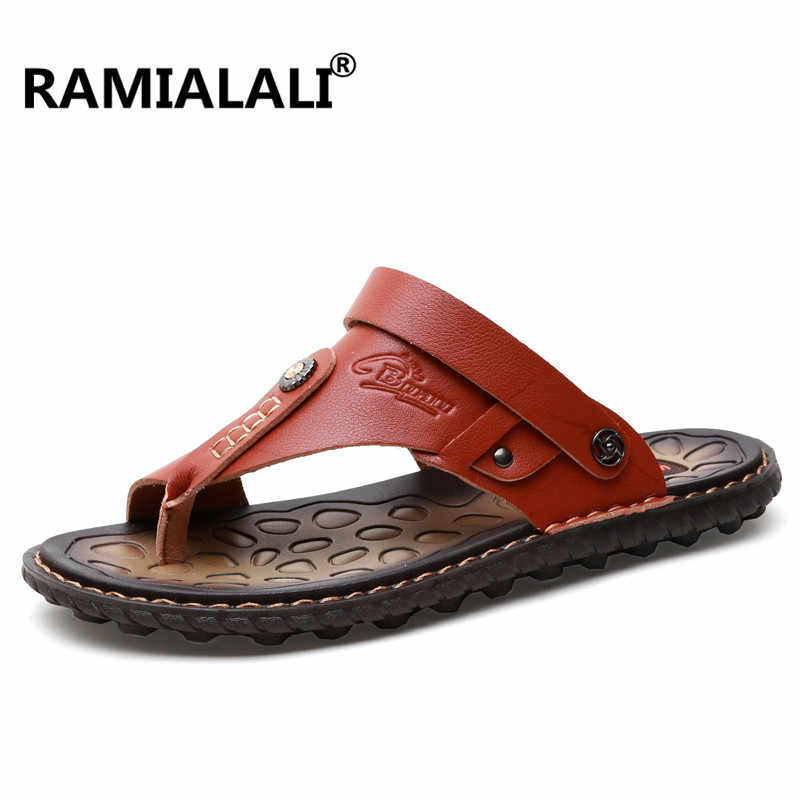 c23352878cb6 Ramialali Leather Sandals Shoes Fashion Men Beach Slipper Breathable Male Sandal  Summer Shoes Rubber Bottom Flip
