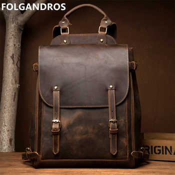 FOLGANDROS Men\'s Genuine Leather Backpack Multifunction Handmade Daypack Vintage Laptop Backpack Shoulder Bag Casual Rucksack - DISCOUNT ITEM  35 OFF Luggage & Bags