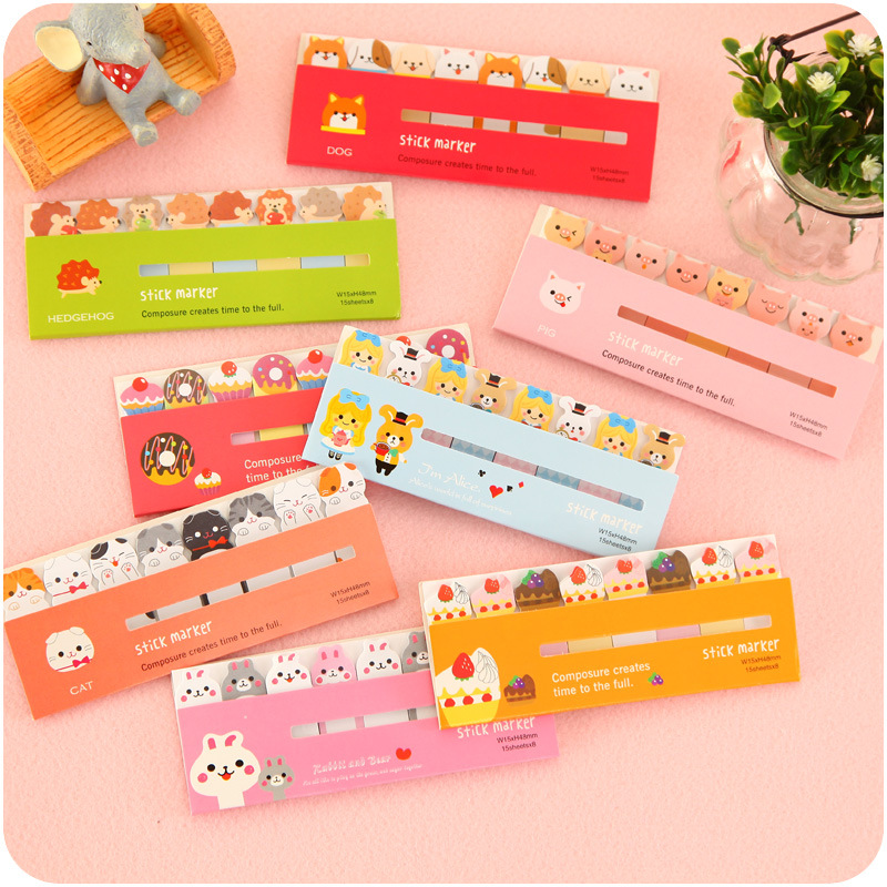 60 pcs/Lot Cute sticky note Decorative diary sticker Cat dog Polar animal Candy Post memo pad office School supplies CM754
