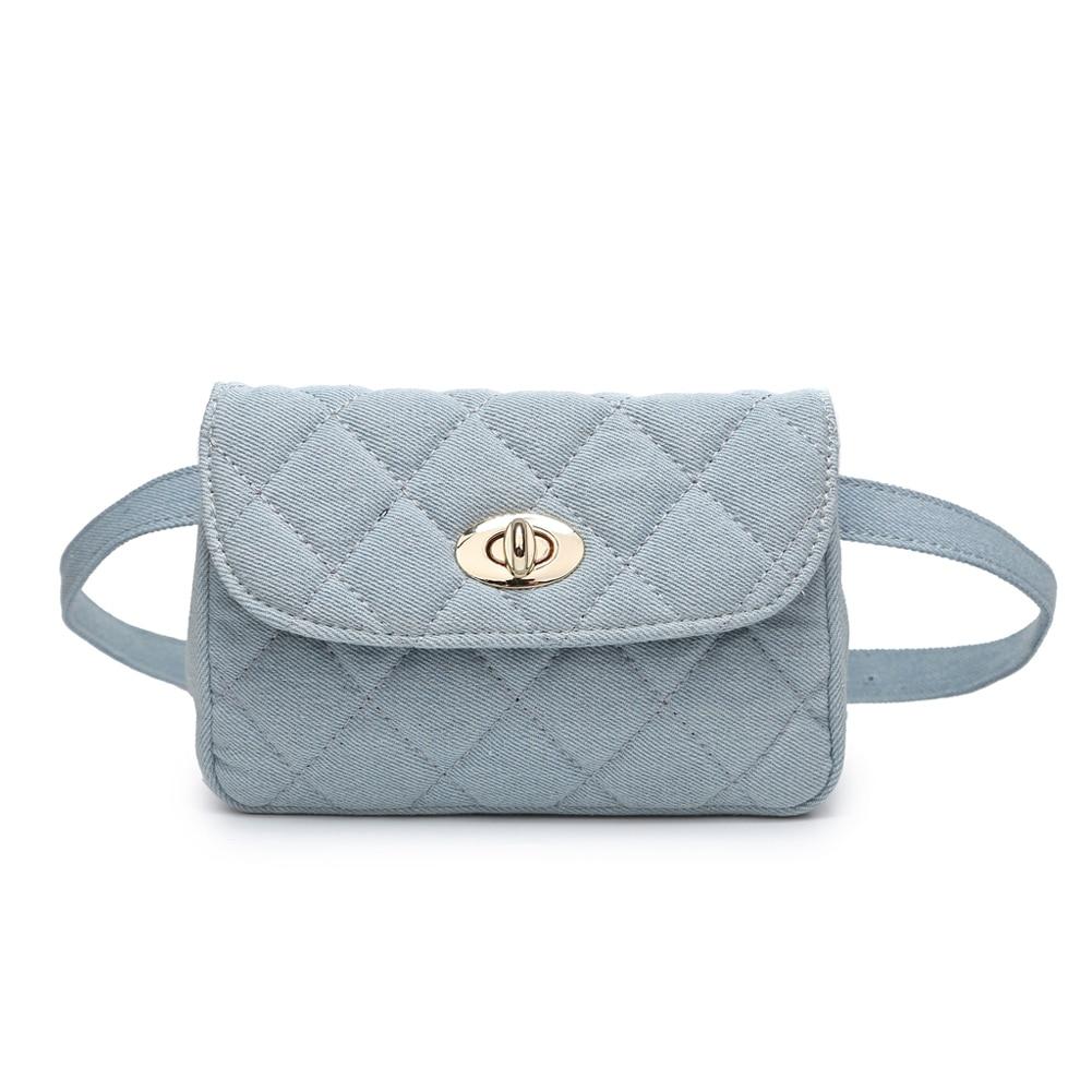 Elegant Denim Waist Bag Women With Metal Chain Solid Fanny Packs Hasp Travel Small Crossbody Bag Ladies Phone Wallet Belt Bags