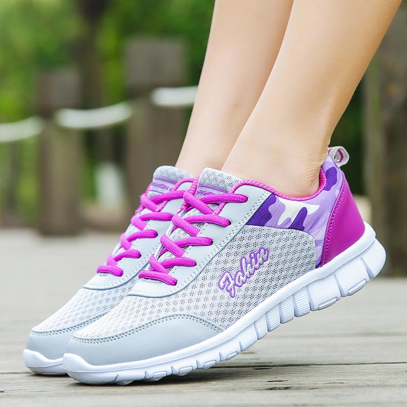 Big Size Mesh Women's Running Shoes Sport Femme Sneakers Women Sports Shoe Tennis Gray Chaussure Femme Sport Training Walk C-253