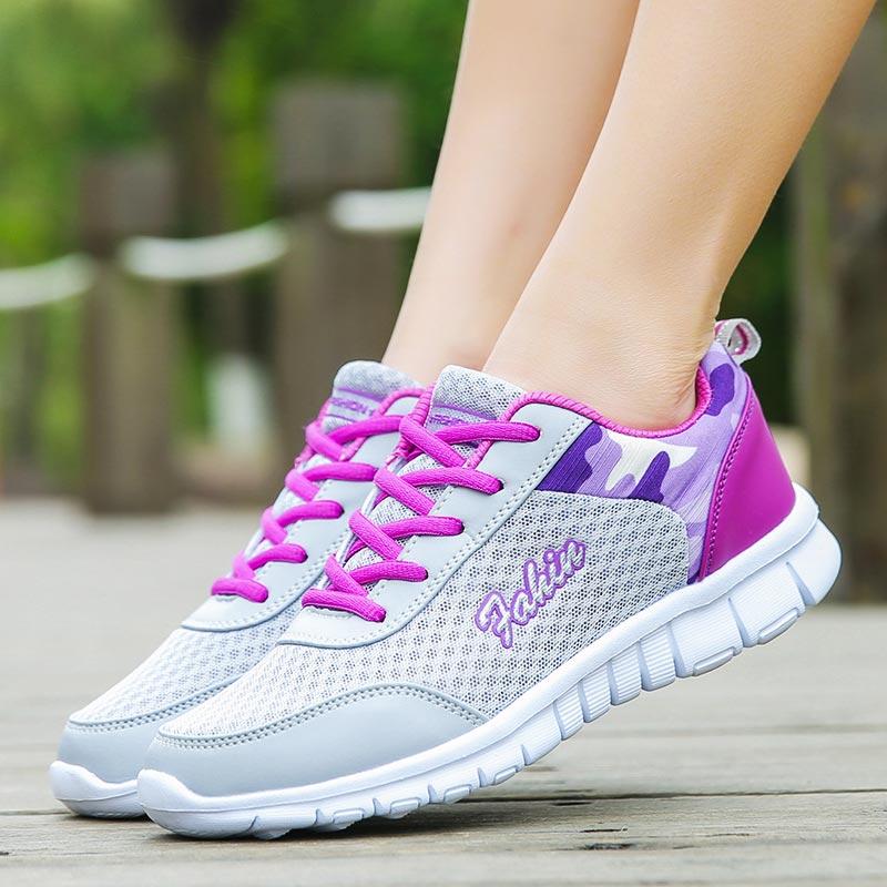 Big Size Mesh Women's Running Shoes Sport Femme Sneakers Women Sports Shoe Tennis Gray Chaussure Femme Sport Training Walk C-253