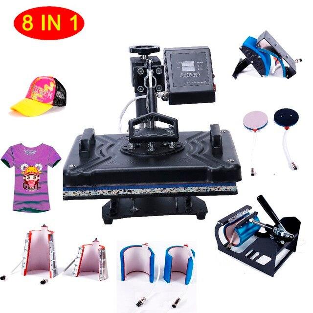 8 en 1 máquina de prensa de calor para zapatos/placa/taza/tapa/camiseta, Etc. impresora de prensa, máquina Multifunctio de prensa de calor/transferencia de calor