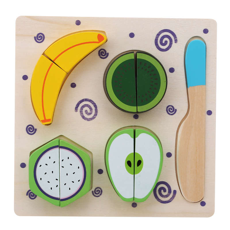 Wooden Fruits Dessert Set Fun Baby Pretend Play Cutting Toy Educational Food Cognition 3D Puzzle Shape Matching Jigsaw Toy