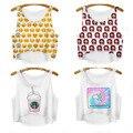 2015 verão nova moda m-xl Hot Sales mangas café Ice Cream padrão mulheres 3D impresso Emoji Top curto