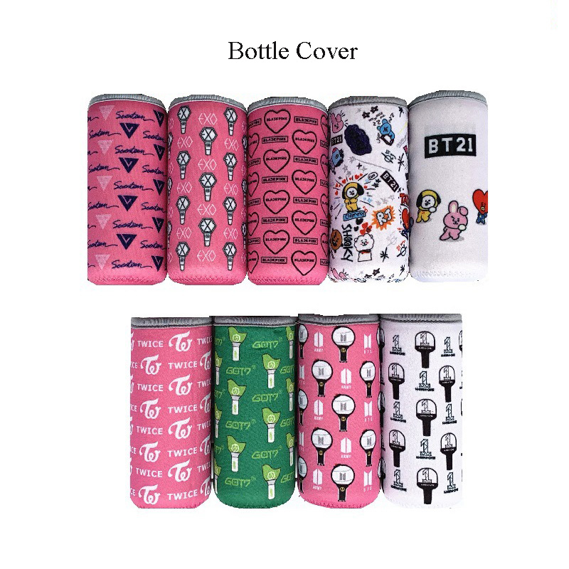 Kpop BTS Bangtan Boys Cartoon BT21 Bottles Warm Cover BLACKPINK EXO GOT7 TWICE WANNA ONE Glass Thermos Cup Cover Candy Color