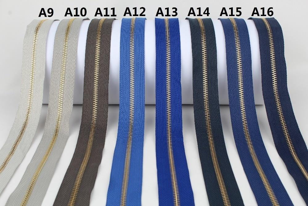 Single Open-end Golden Metal Zipper Dark Grey Blue Dark Navy Blue  High Grade Metal Zipper Roll 10 Yards