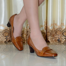 Pumps,women pumps,shoes,women shoes, genuine leather med heel dress shoes for women office ladies shoes 2016 new style 319A-3