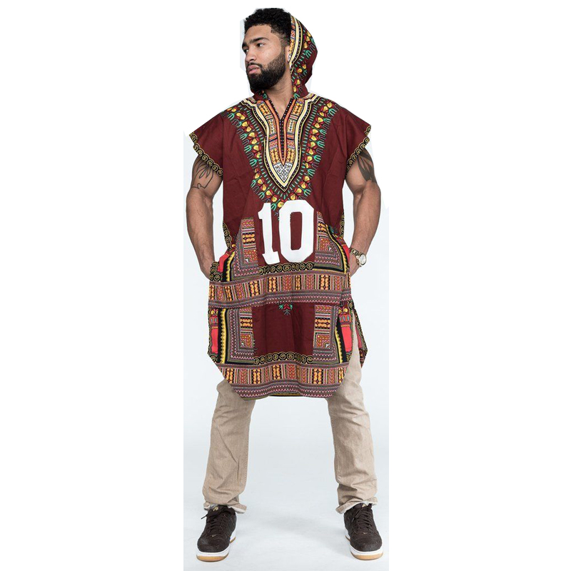 Mens Hipster Hip Hop African Dashiki Fabric Elongated longline Hoodie t shirt Hoody longline T-shirt