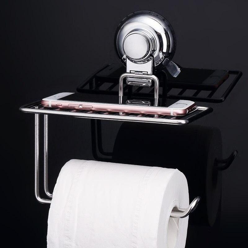 Sucker Toilet Paper Holder With Storage Shelf Suction Cup Toilet Paper Holder Paper Towel Holder With Shelf Bathroom Accessories in Bathroom Accessories Sets from Home Garden