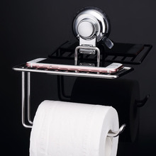 Sucker Toilet Paper Holder With Storage Shelf Suction Cup Towel Bathroom Accessories