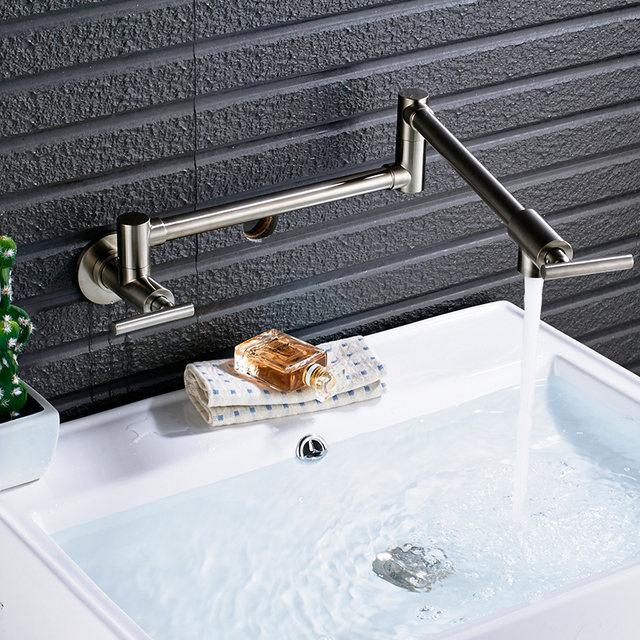 Quyanre Chrome Nickel Black Brass Pot Filler Tap Wall Mounted Kitchen Faucet Single Cold Single Hole Tap Rotate Folding Spout