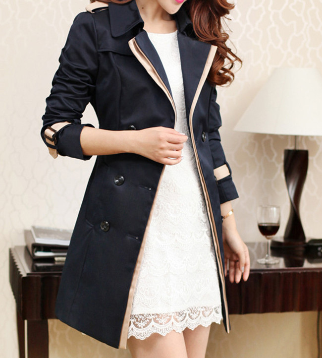 Vangull 19 Fashion Women Thin Trench Coat Turn-down Collar Double Breasted Patchwork Long Trench Coat Slim Plus Size Wind coat 3