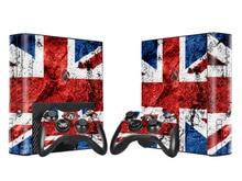Bandiera britannica Del Vinile Della Pelle Sticker Protector per Xbox 360 E per il trasporto di Microsoft Xbox 360 360E Sottile con 2pcs Controller di Copertura gamepad Decal